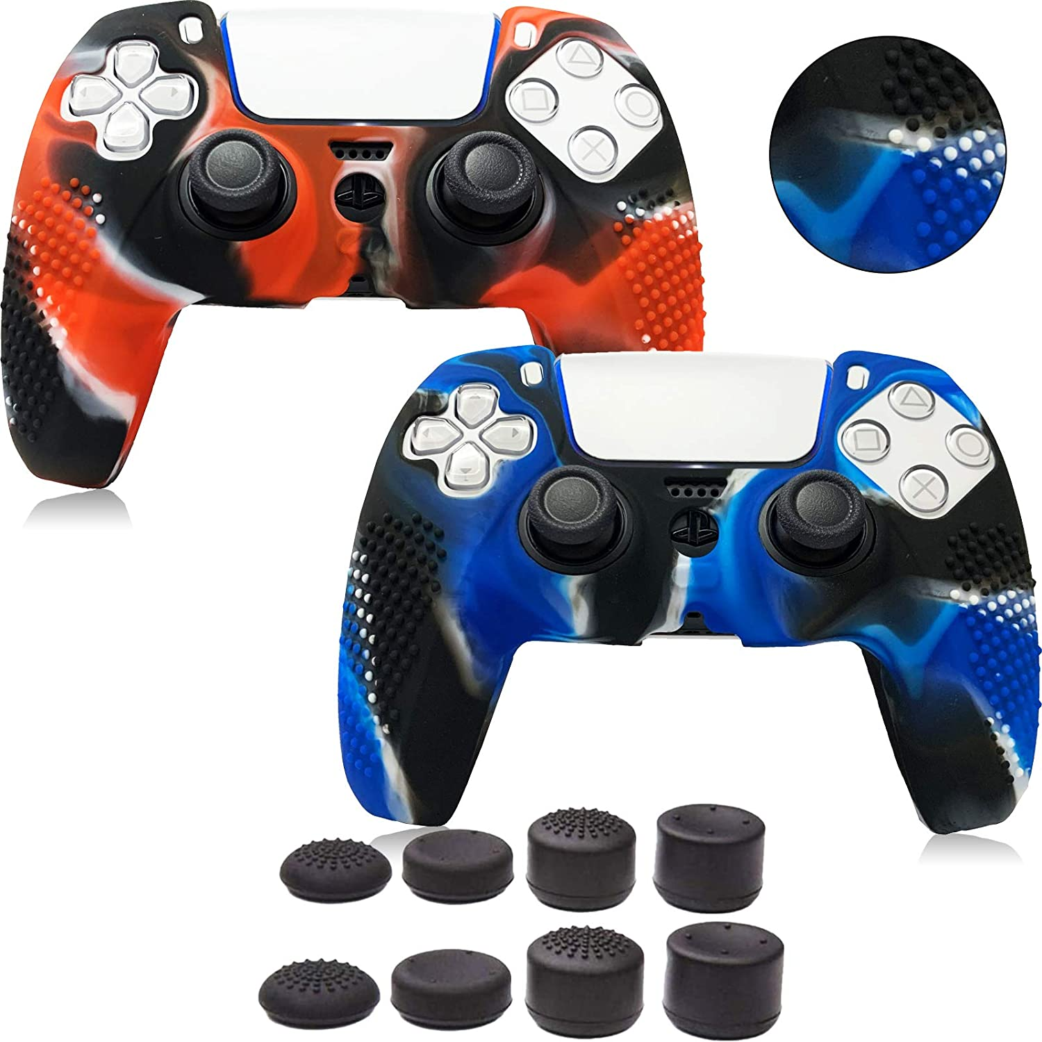 2 Pack PS5 DualSense Controller Skins, Texture Pattern Cover for