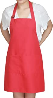 SEW UR LIFE Christmas Red Professional Waterdrop Resistant Adjustable Extra Long Bib Apron 3 Pockets Home Kitchen Garden Restaurant Cafe Bar Pub Bakery for Cooking Chef Baker Servers Craft