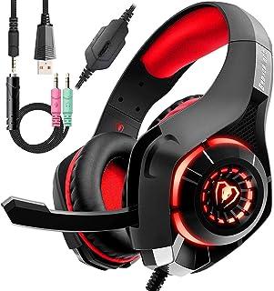 Auriculares con cable rojo para videojuegos para PS4, auriculares de PC sobre la oreja como regalo, auriculares para gamer con micrófono con cancelación de ruido, luz LED, sonido envolvente de graves 3D, almohadilla de espuma viscoelástica para Mac, portátil, móvil