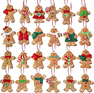 Winlyn Christmas Countdown Advent Calendar 24 Set Clay Figurine Ornaments Gingerbread Family Dolls Gingerman Ginger Bread Man Hanging Christmas Tree Ornaments for Holiday Kitchen Decor