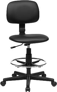 SONGMICS Fauteuil de bureau, Chaise en toile, Siège ergonomique, Tabouret, avec repose-pieds réglable, pivotant à 360°, ch...