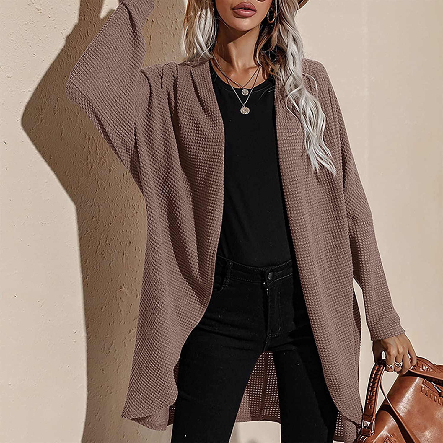 Womens Casual Sweater Solid Color Tops Mid-length Long Sleeved Sweater Coats