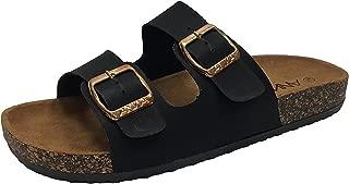 Annas Fashion Anna Women's Double Strap Cork Sole Slide Sandal Buckle