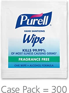 PURELL Hand Sanitizing Alcohol Formula Wipes, Fragrance Free, 300 Count Individually Wrapped Portable Wipes Packets (Pack of 300) – 9020-06-EC