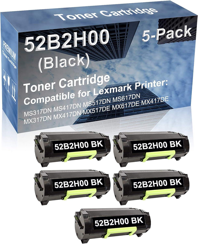 5-Pack Compatible High Capacity MX517DE MX617DE MX417DE Printer Toner Cartridge Replacement for Lexmark 52B2H00 Printer Cartridge (Black)