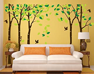 Fymural 5 Trees Wall Decal - Forest Mural Paper for Bedroom Kid Baby Nursery Vinyl Removable DIY Sticker 103.9x70.9,Green+Brown