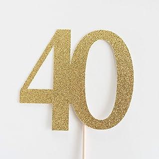 DKISEE Tarjeta de purpurina para 40 tartas, 40 cumpleaños, aniversario, cuarenta y cuarenta purpurina dorada, decoración d...
