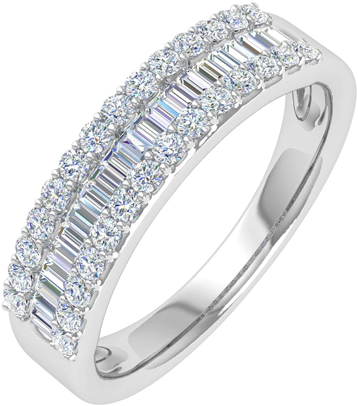 1/2 Carat Baguette and Round Shape Diamond Wedding Band Ring in 10K Gold