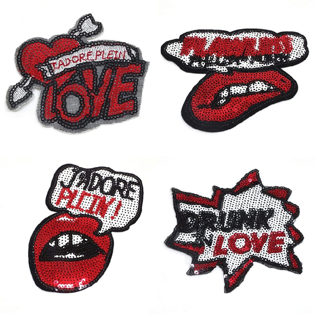 Riverbyland Valentine's Day Sequin Iron On Patches Bling Punk Pack of 4