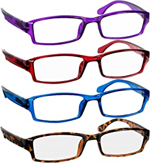 Reading Glasses Best 4 Pack_Purple Red Blue Tortoise for Men & Women Have a Stylish Look & Crystal Clear Vision When You Need It! Comfort Spring Arms & Dura-Tight Screws_100% Guarantee + 3.50