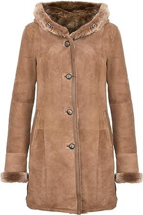 Infinity Leather Cappotto da Giacca da Donna in Pelle di Montone Scamosciato Merino Marrone Chiaro con Cappuccio