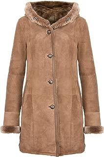 Infinity Leather Women's Elegant Brown Tan Hooded Suede Merino Shearling Sheepskin Jacket Coat