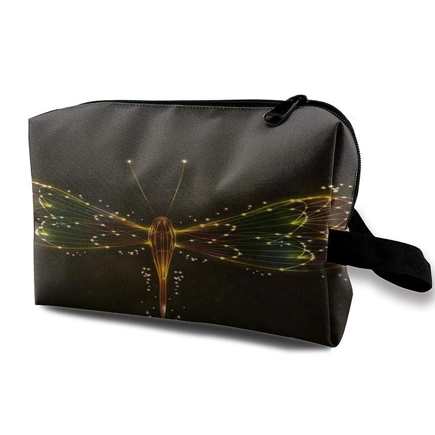 準拠補充簡単にドラゴンフライの背景 化粧バッグ 収納袋 女大容量 化粧品クラッチバッグ 収納 軽量 ウィンドジップ