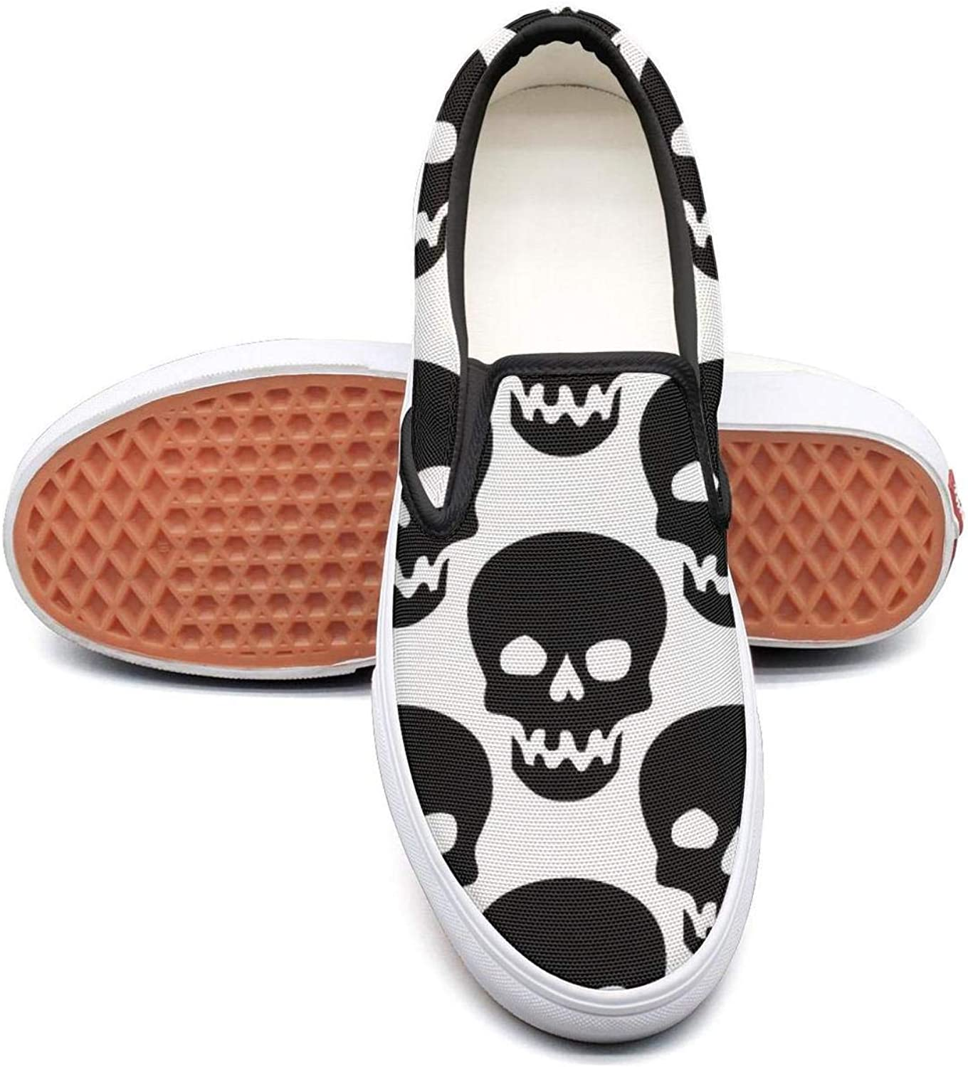 Black and White Skull Slip On Superior Comfort Loafers Canvas shoes for Women Comfortable