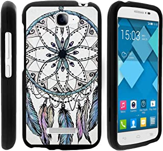 TurtleArmor | Compatible with Alcatel One Touch Fierce 2 Case | POP Icon Case [Slim Duo] Two Piece Hard Cover Slim Snap On Case on Black - Dreamcatcher Feathers