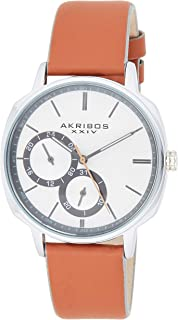Akribos XXIV Men's Watch – Tan Genuine Leather Band, Sand Blasted Grained Dial and 24 Hour and Date Recessed Sub-Dials – Quartz Movement - AK1022TN