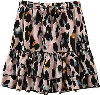 Women's Leopard Print Drawstring Waist Layer Ruffle Hem Short Skirt