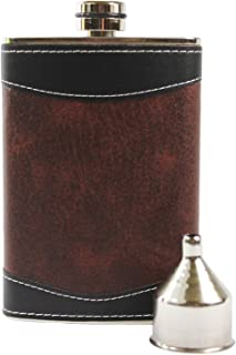 Primo Liquor Flasks 8oz Stainless Steel Primo 18/8#304 Brown/Black PU Leather Premium/Heavy Duty Hip Flask Set-Includes Fu...