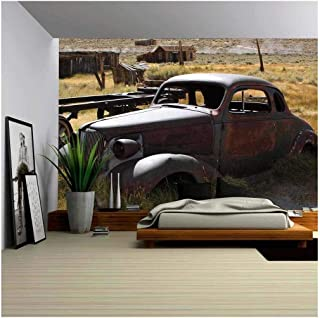 wall26 - 1937 Chevy Without Wheels Abandoned in The Desert. - Removable Wall Mural   Self-Adhesive Large Wallpaper - 66x96 inches