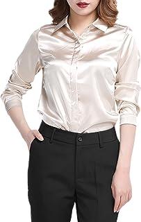 2bb7c9145cc76 YOUMU Women Satin Silk Long Sleeve Button-Down Shirt Formal Work Silky Blouse  Top Black
