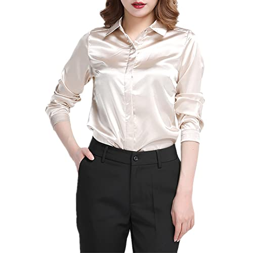 27d32bc8e23f49 YOUMU Women Satin Silk Long Sleeve Button-down Shirt Formal Work Silky Blouse  Top