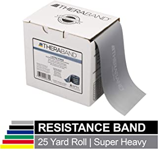 TheraBand Resistance Band 25 Yard Roll, Super Heavy Silver Non-Latex Professional Elastic Bands For Upper & Lower Body Exercise, Physical Therapy, Pilates, & Rehab, Dispenser Box, Advanced Level 2