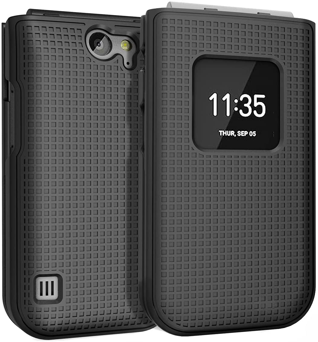 Case for Nokia 2720 V Flip Phone, Nakedcellphone [Black] Protective Snap-On Hard Shell Cover [Grid Texture]