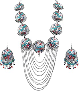 Jewel India Ethnic Antique Fashion Handmade Statement Indian Turkish Tribal Oxidized German Silver Choker Thread Necklace