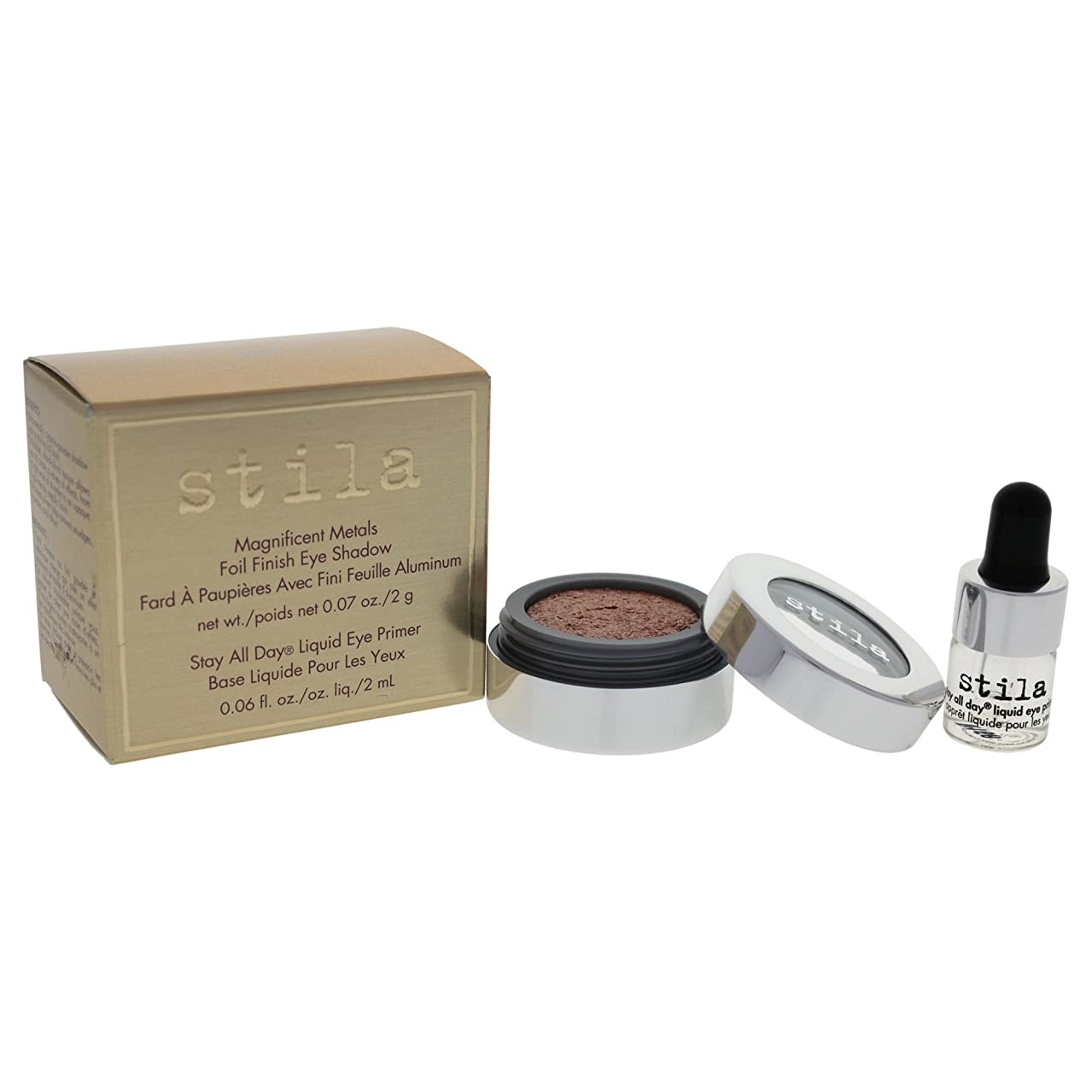 栄養強要モススティラ Magnificent Metals Foil Finish Eye Shadow With Mini Stay All Day Liquid Eye Primer - Metallic Kitten 2pcs並行輸入品