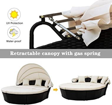 Zebery Outdoor rattan daybed sunbed with Retractable Canopy Wicker Furniture, Round Outdoor Sectional Sofa Set, black Wicker