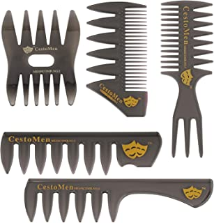 5 Pack Professional Styling Comb Set Wide Tooth Hair Comb Double Sided Hair Combs for Mens Combs