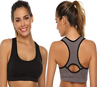Aibrou Women Racerback Sports Bras Support Sports Bra for Yoga Gym Workout Athletic Bra Top
