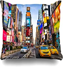 DIYCow Throw Pillow Covers Tourism Yellow Street New York City Dec Times Manhattan Taxi Broadway NYC Cab Theater Home Decor Pillowcase Square Size 16 x 16 Inches Zippered Cushion Case