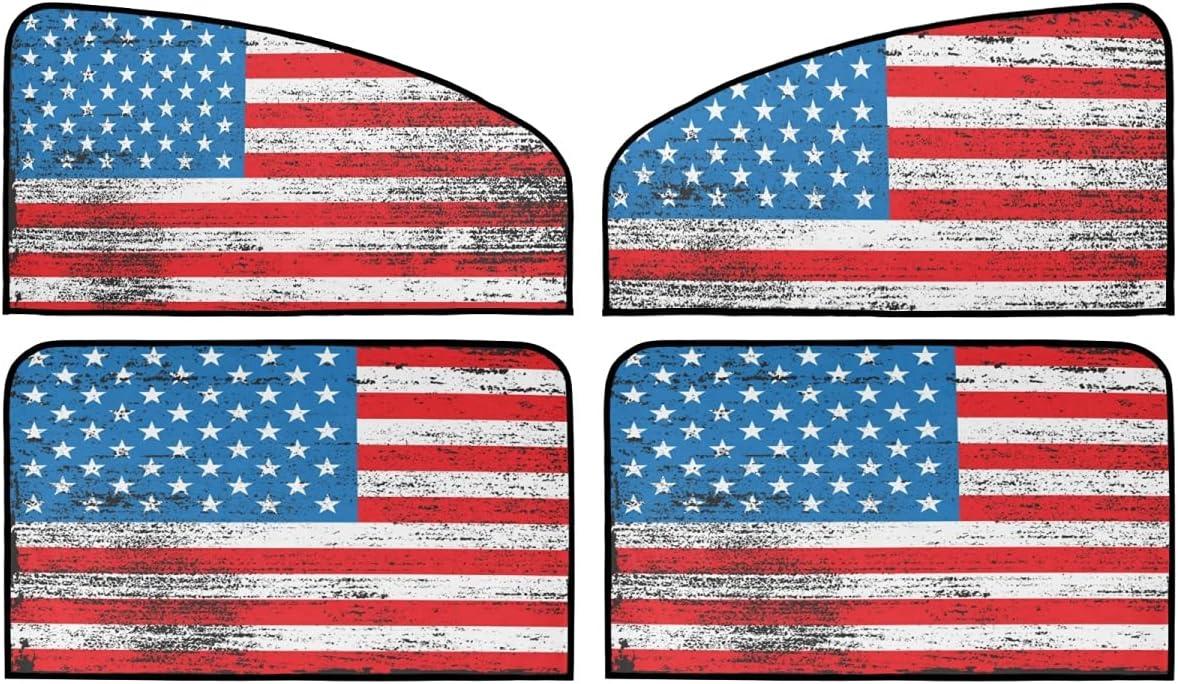 San Jose Mall 4 Piece Set Magnetic Car Window Flag - Blocker Sun 5 ☆ popular American Old