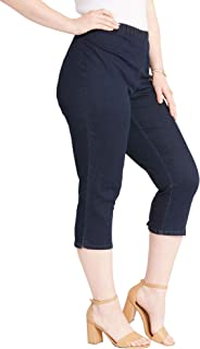 Women's Plus Size Pull-On Stretch Denim Capri Jean