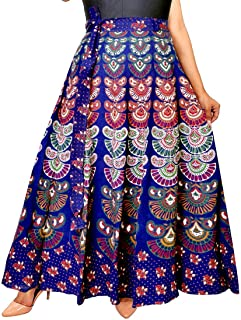 Rangun Women's Regular Printed Cotton Long Skirt