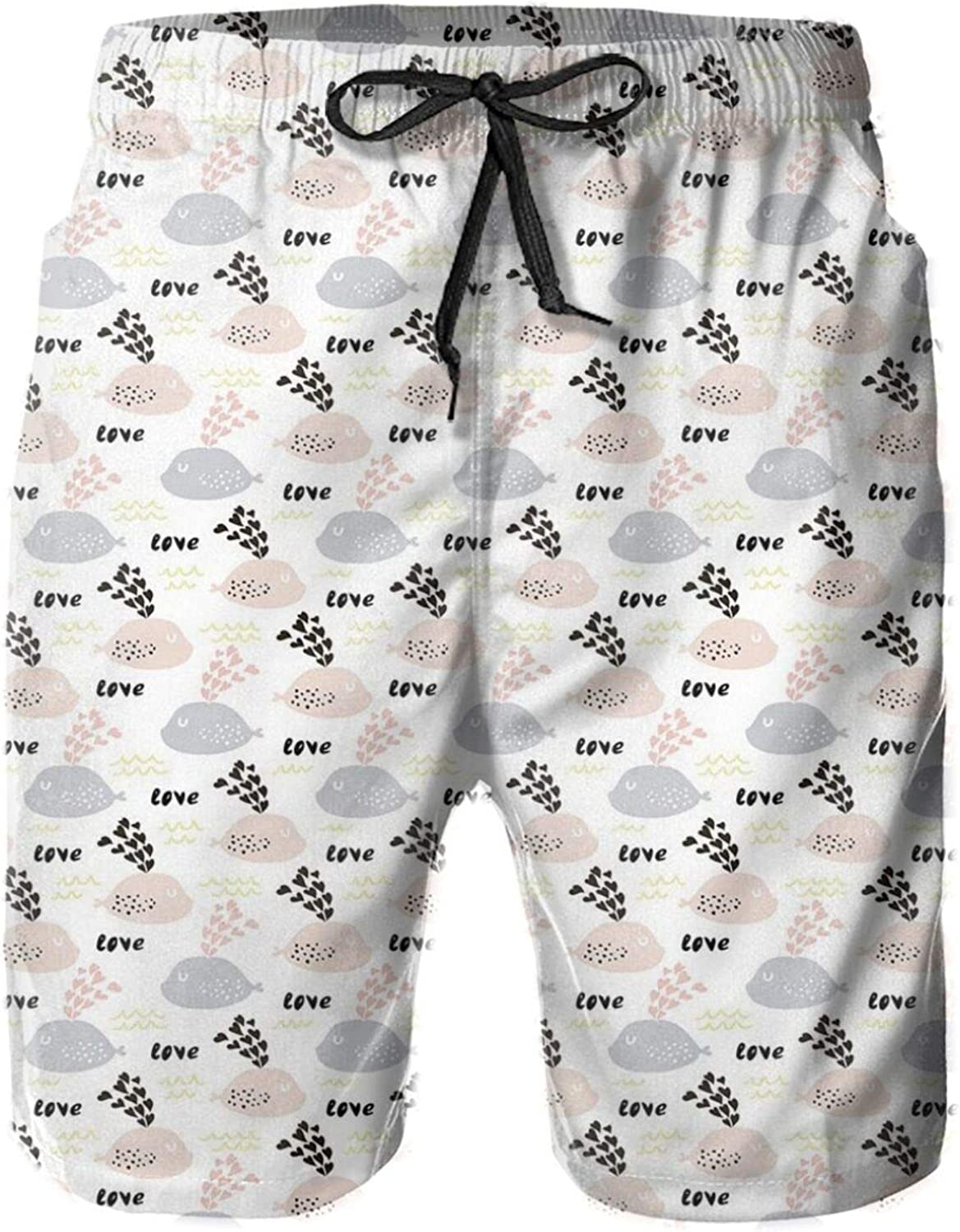 Love Valentines Day Themed Ocean Dwellers Doodle with Pastel Colored Hearts and Waves Swimming Trunks for Men Beach Shorts Casual Style,XL