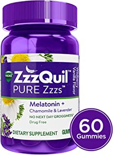 Vicks ZzzQuil PURE Zzzs Melatonin Natural Flavor Sleep Aid Gummies with Chamomile, Lavender, & Valerian Root, 1mg per gummy, 60 ct