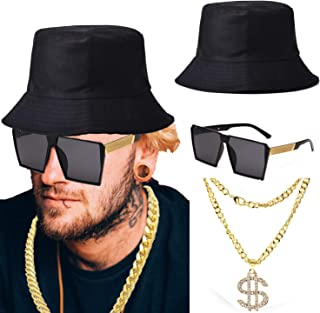 ZeroShop 80s/90s Hip Hop Costume Kit - Cotton Bucket Hat,Gold Chain Beads,Oversized Rectangular Hip Hop Nerdy Lens Sunglasses