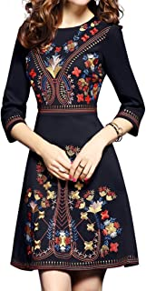 Women`s Premium Embroidered Floral 2/3 Sleeves Cocktail Formal Mini Dress