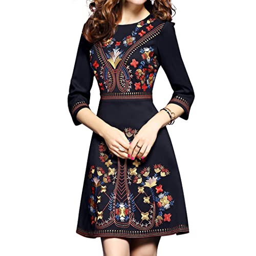 38111b8fb56 Women s Premium Embroidered Floral 2 3 Sleeves Skater Cocktail Formal Mini  Dress Black