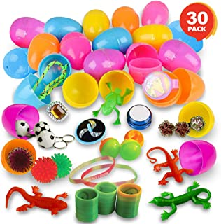 ArtCreativity 2 Inch Plastic Pre Filled Easter Eggs with Toys Inside - Set of 30 - Assorted Vibrant Colors - Fun Surprise Toys for Kids - Egg Hunt Supplies, Party Favors for Boys and Girls