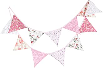INFEI 3.2M/10.5Ft Multicolored Vintage Floral Triangle Flags Fabric Banner Bunting Garlands for Wedding, Birthday Party, Outdoor & Home Decoration (Pink)