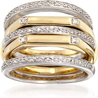 Ross-Simons Set Of 4 .15 ct. t.w. Diamond Stackable Rings in 2-Tone Sterling Silver