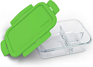Bentgo Glass (Green) – Leak-Proof, 3-Compartment Oven-Safe Glass Lunch Container | Ideal for Portion-Control, Food Storage & Healthy On-the-Go Meals – FDA-Approved, BPA-Free, Food-Safe Materials