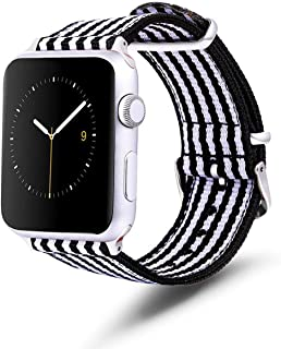 TinaWood Wristband Watch Strap Comfortable Denim Fabric Watch Band Compatible for iWatch Series 4/3/2/1 (Black and White, ...