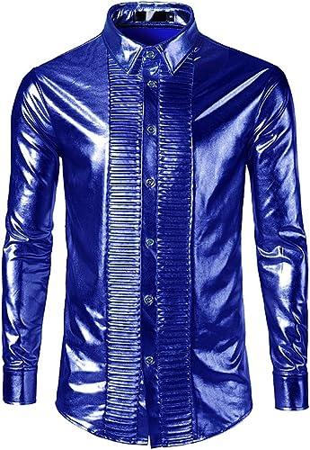 Fxwj Homme Bronzing Brillant Chemise Slim Fit Manches Longues Mode Disco Party Costume