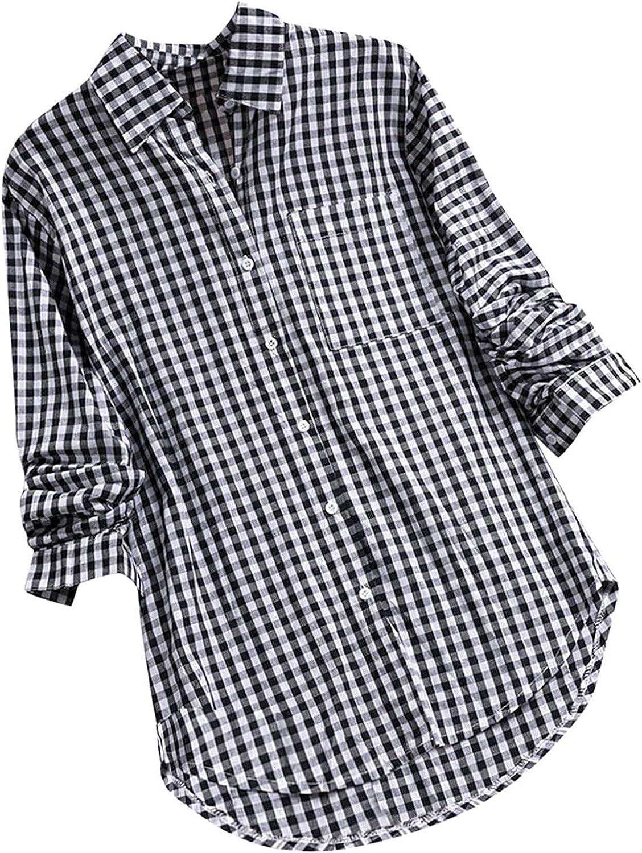 SZITOP Womens Fall Vintage Casual Loose Plaid Long Sleeve V Neck Pocket Lapel Tops Shirt Sweater Sweatshirt Pullover Cardigan