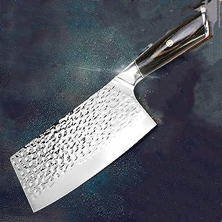Couteau de cuisine Chinois Couteau à coupereau de 7 pouces de 7 pouces 7Cr17 440c Forgé Acier inoxydable Full Tang Chequeu...