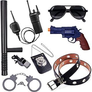 ست لوازم جانبی پلیس مجموعه نقش آفرینی برای کودکان دارای نشان پلیس ، اسلحه ، کمربند ، دستبند ، باتوم ، عینک آفتابی ، واکی تاکی ، اسباب بازی های پلیس سوت هدیه تولد لباس لباس افسر پلیس لباس دختران پسر